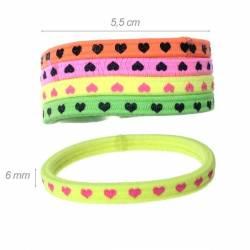 Elastico-braccialetto Colori Fluo con Cuoricini