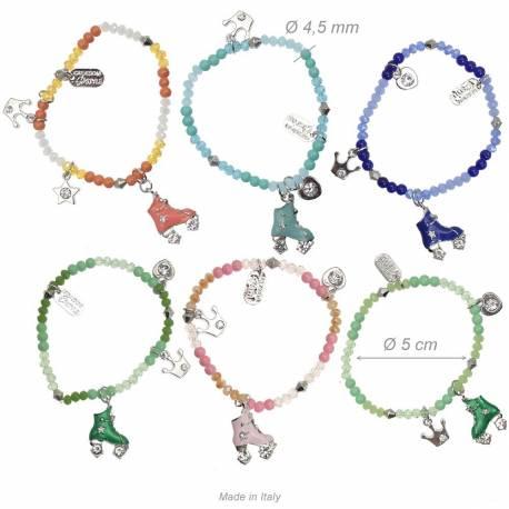 Bracciale Elastico Di Perline e cristalli con Pattini Rotelle e Strass