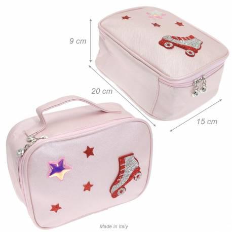 Beauty Case In Tessuto Saffiano Pattinaggio Con Glitter