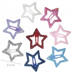 Fermacapelli Clic Clac Stella Glitter 3,2 Cm